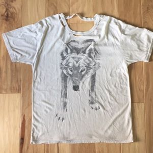 Obey Wolf T shirt with cut outs